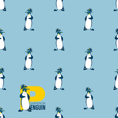 Seamless pattern with a penguin in a headdress of Napoleon. Light blue background. Design for can be used for environmental posters, thematic site, template for textiles and packaging materials.