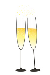 Festive glasses of champagne in gold and black collors with stars and bubbles on a white background, vector illustration
