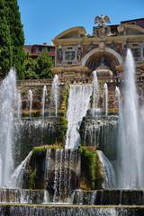 Huge fountain in the park of Villa d'Este in Tivoli