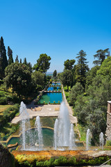 Cascading lakes in the park of Villa d'Este in Tivoli