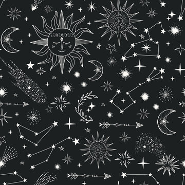 Seamless pattern with stars, comets, suns, moon, constellation, Children repeat background.
