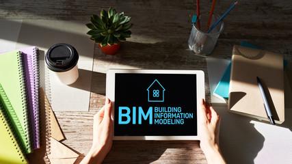 BIM - Building information modeling concept on screen.