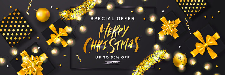Merry Christmas Sale poster with tinsel,gift boxes,Christmas balls and shiny serpentine . Vector illustration. Design for invitation, banners, ads, coupons, promotional material.