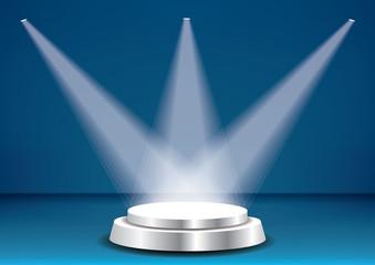 podium silver blue three