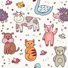 Cute Animals Doodle Set. Hand drawn swan, pig, dog, cow, hedgehog, bear, bird, cat. Vector illustration for your cute design