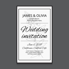 Wedding invitation card template with flower. Vector illustration for your cute design.