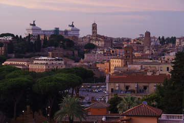 View of Rome and Piazza Venezia from Aventine hill