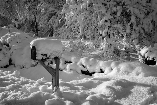Snow covered mailbox in Winter