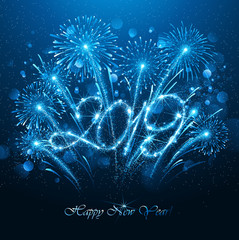 New Year's Fireworks 2019 with Flickering Lights Effect. Vector