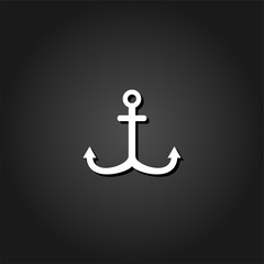 Anchor icon flat. Simple White pictogram on black background with shadow. Vector illustration symbol