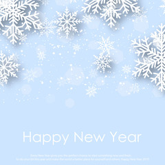 Merry Christmas and Happy New Year Greeting Card With White Snowflakes. 2019 .Vector