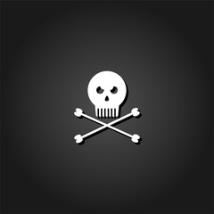 Jolly roger icon flat. Simple White pictogram on black background with shadow. Vector illustration symbol