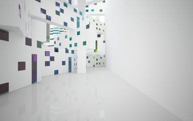 White Abstract architectural background whith colored gradient lines . 3D illustration and rendering