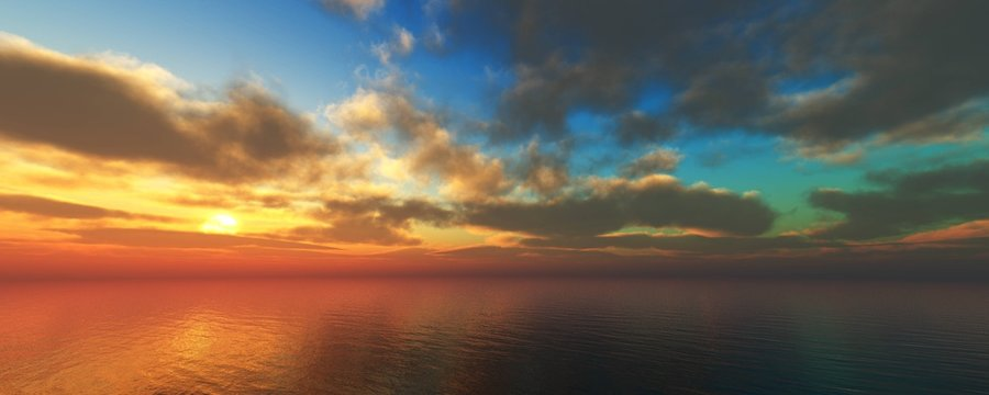 Beautiful sunset over the sea, the sun over the sea, clouds over the water,