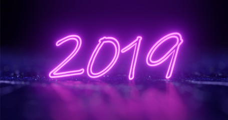 3d rendering. 2019 New Year Concept with Colorful Neon Lights and bokeh. Retro Design Elements for Presentations, Flyers, Leaflets, Posters or Postcards.