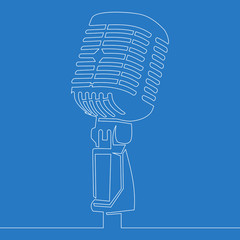Continuous Line Drawing retro microphone icon line