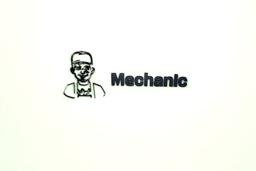 Illustration of Mechanic with dark blue text on light background