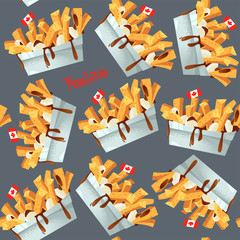 Quisine of Quebec. Poutine: dish consisting of French fries and cheese curds topped with a brown gravy. Seamless background pattern.