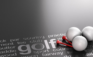 Poster Golf Golf Concept Black background