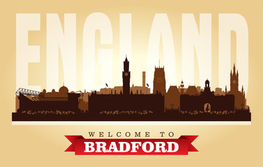 Fototapete - Bradford United Kingdom city skyline vector silhouette