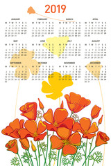 Vector vertical wall calendar for 2019 year with bouquet of outline orange California poppy flower or Eschscholzia, bud and leaf. Week starts from Monday, English. Calendar design with ornate floral.