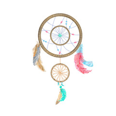 Dream catcher with feathers and ribbon blue red digital art illutration tribal drawing boho party print greeting card ready geometric on white background