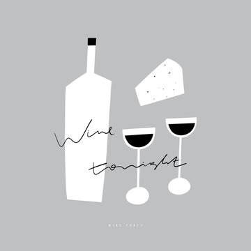 Flat wine bottle, glasses and cheese illustration. Wine party . Handwritten text
