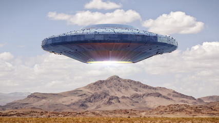 UFO, science fiction scene with alien spaceship, extraterrestrial visitors in flying saucer over landscape