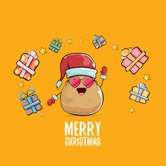 vector funky comic cartoon cute brown smiling santa claus potato with red santa hat, gifts and calligraphic merry christmas text isolated on orange background. vegetable funky christmas character