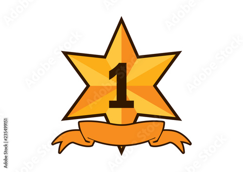 gold ribbon award icon vector golden star on a white background