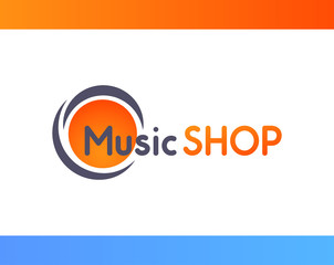 Logo for Music shop isolated on white background - Vector illustration of orange colorful emblem.