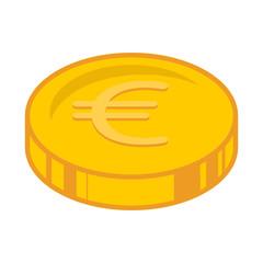 Euro coins icon. Vector illustration of a coin with a euro sign. Euro coins, money.