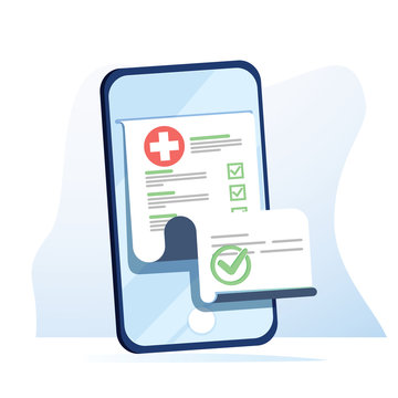 Medical form list with results data and approved check mark on mobile phone vector, flat cartoon clinical checklist