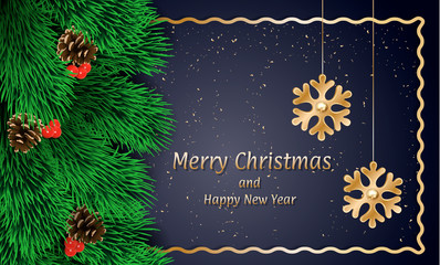 Merry xmas banner. Realistic illustration of Merry xmas vector banner for web design