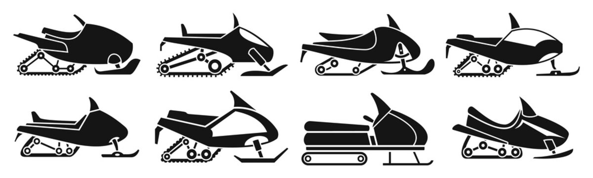Fast snowmobile icon set. Simple set of fast snowmobile vector icons for web design on white background