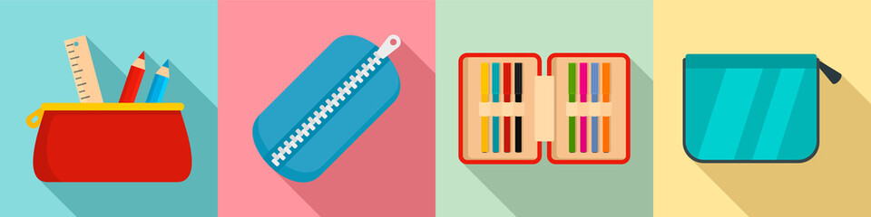 Pencil case icon set. Flat set of pencil case vector icons for web design