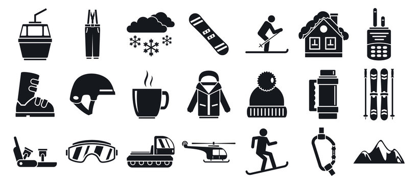Mountain ski resort icon set. Simple set of mountain ski resort vector icons for web design on white background