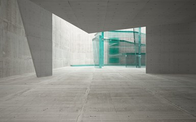 Abstract interior of glass and concrete. Architectural background. 3D illustration and rendering