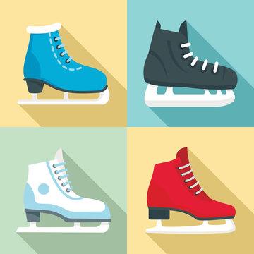 Ice skates icon set. Flat set of ice skates vector icons for web design
