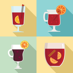 0c0b5484fc Mulled wine icon set. Flat set of mulled wine vector icons for web design