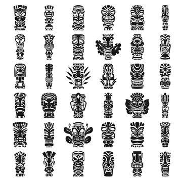 Tiki idols icon set. Simple set of tiki idols vector icons for web design on white background