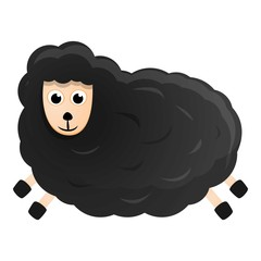 Black sheep icon. Cartoon of black sheep vector icon for web design isolated on white background
