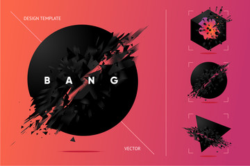 Abstract explosion shapes set with black particles. Bang futuristic design elements collection. Design templates. Fototapete