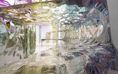 Abstract dynamic interior with colored glass smooth wave objects. 3D illustration and rendering