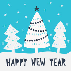 Happy New Year card with tree and lettering. Vector christmas template for design. Concept winter illustration.