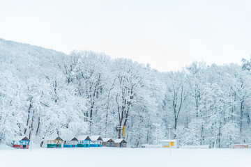view of frozen lake with pavilions on river side