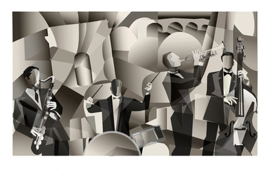 Acrylic Prints Art Studio Jazz band in Paris