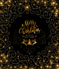 Happy New Year text. Calligraphic Lettering. New year and Christmas Holidays design