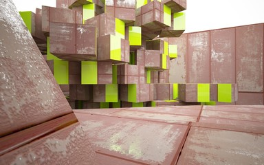 Empty abstract room interior of sheets rusted metal with glossy green line. Architectural background. 3D illustration and rendering