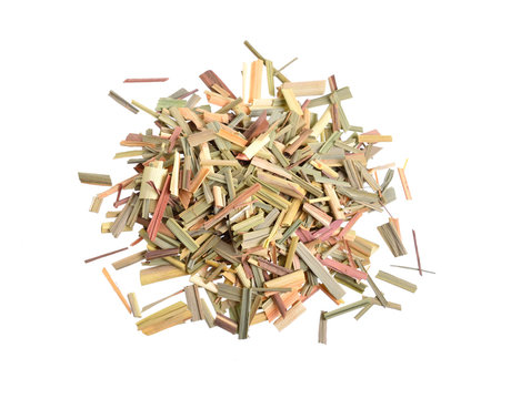 Dried Cymbopogon, better known as lemongrass. Isolated on white background